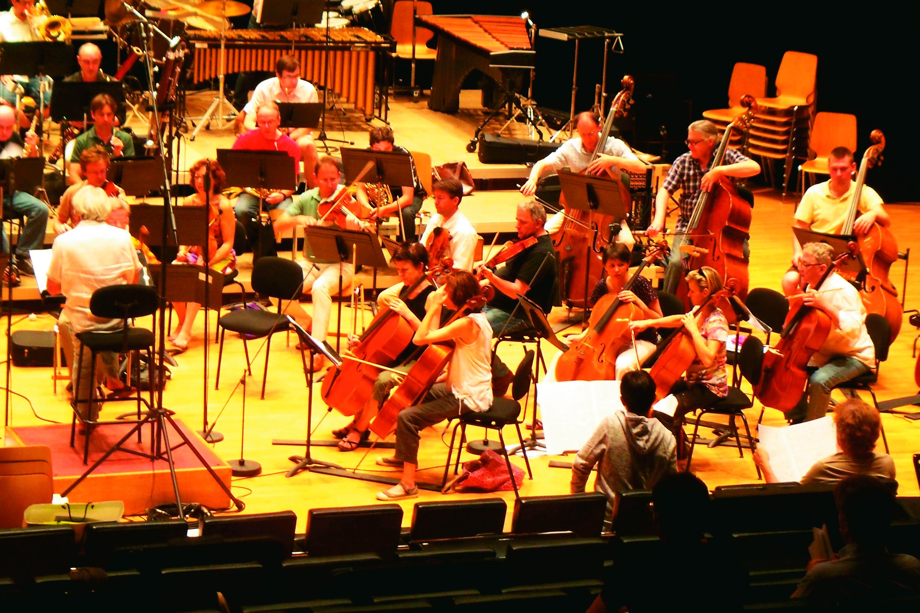 筆者がスペクトラル楽派の創始者の一人と見做されている作曲家トリスタン・ミュライユの指導のもと、ロレーヌ国立管弦楽団による自作の初演のためのリハーサルに立ち会っている写真(サントル・アカント現代音楽講習会、2010年7月。右下、前列、後ろ姿の二人が筆者とミュライユ)
